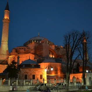 Blue Mosque at night with full moon